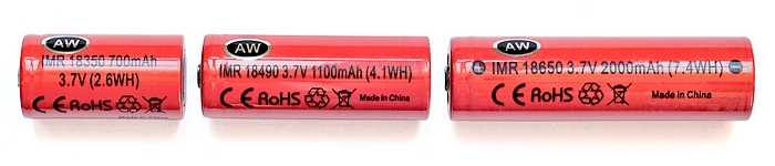 Batteries Lithium-Ion pour mods AW IMR 18350-18490-18650